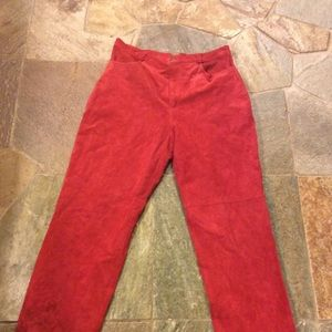 Red leather suede pants Sz 10